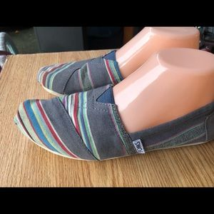Toms Multi-Color Fabric Slip On Shoes Size 7.5